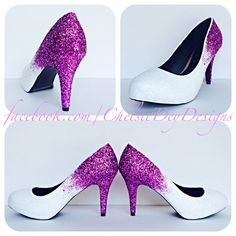 Magenta and White Ombre Glitter High Heels - pinned by pin4etsy.com