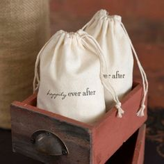 Happily Ever After Cotton Wedding Favor Bags (Hortense B Hewitt 35046)   Buy at Wedding Favors Unlimited (http://www.weddingfavorsunlimited.com/happily_ever_after_cotton_wedding_favor_bags.html).