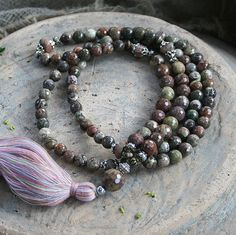 Mala made of, 8 and 10 mm - 0.315 and 0.394 inch, beautiful faceted jasper gemstones. Togther they count as 108 beads - look4treasures on Etsy