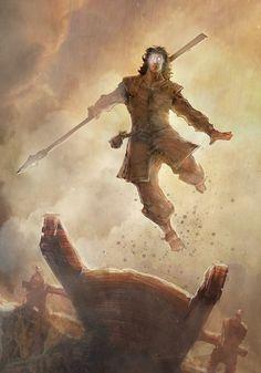 Kaladin qui saute depuis le pont quatre ~inspiré de la voie des rois, Brandon Sanderson~