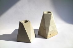 geometric concrete candle holders by RISD alum Foundaciun, foundaciun.com