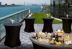 An outdoor reception at 42 Degrees North, a space accommodating up to 180 located on the beautiful Detroit River.  #detroitmarriott #marriott