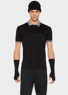 VERSACE Greca Key Collar Cotton Polo Shirt. #versace #cloth #greca key collar cotton polo shirt
