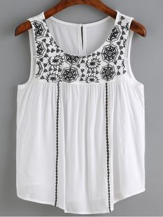 To find out about the White Flower Embroidered Vest at SHEIN, part of our latest Tank Tops & Camis ready to shop online today! Mexican Top, White Shop, White Patterns, Embroidered Flowers, White Flowers, Vest, Tank Tops, My Style, Casual