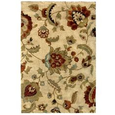 Here's the rug we picked! Our palette: taupe, red, blue and golds! allen + roth Carolina Wild 7-ft 10-in x 10-ft Rectangular Beige Floral Area Rug at Lowes.com