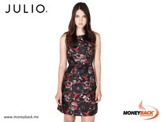 MONEYBACK MEXICO. Fit dress with a wide skirt, round neckline and hidden side pockets. Made of jacquard colorful abstract flowers with a combination of black satin on the back. Shop In JULIO in Mexico and receive a tax refund for foreign tourists with Moneyback! #moneyback www.moneyback.mx