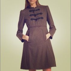 Marc Jacobs wool dress/coat! Brand New! *Mandarin collar* Three frog toggles down front with three hidden snap closures * Empire waist with folded panel detail * Slanted front pockets * Flared skirt * Fully lined! Chic and sophisticated. New, never worn, with tags! Marc by Marc Jacobs Jackets & Coats