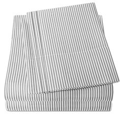 Shop 1500 thread count, bed sheet set and more BED SHEETS at Sweet Home Collection White And Navy Bedding, Striped Bedding, Navy And White, Duvet Bedding, Crib Bedding Sets, Bedding Shop, Grey Sheets, Pottery Barn Teen Bedding