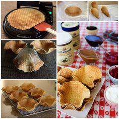 Making Ice Cream Waffle Bowls