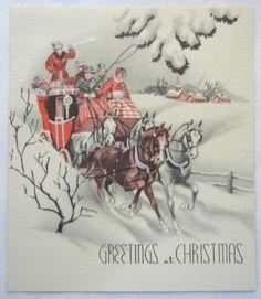 Vintage Christmas Card - Coach & Horses - Circa 1945