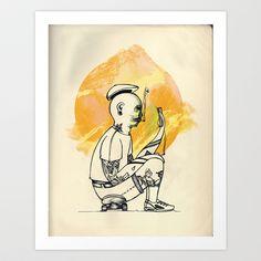 The smoking Dudes II Art Print by Edelmeier  - $17.68