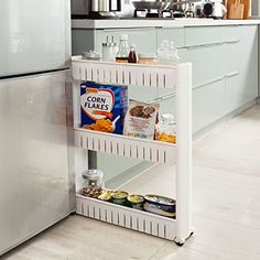 SoBuy® FRG40-W étagère placard alcôve tour de rangement à roulettes étagère de cuisine, salle de bains roulante - 3 étages