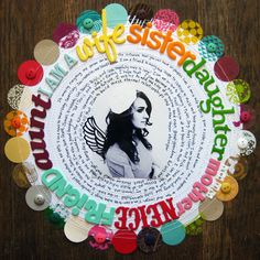 I Am A. scrapbook layout by Paige Evans Album Scrapbook, Scrapbook Sketches, Scrapbook Page Layouts, Scrapbook Paper, Circle Scrapbook, Mini Albums, Scrapbooking Digital, Heritage Scrapbooking, Studio Calico