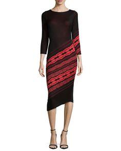 3/4-Sleeve Angled-Stripe Dress, Black/Ruby Coral by Yoana Baraschi at Neiman Marcus.