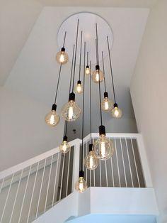 High Ceiling Lighting, Stairway Lighting, Entry Lighting, Home Lighting, Lights Over Dining Table, Apartment Lighting, Modern Lighting Design, House Stairs, Light Fixtures