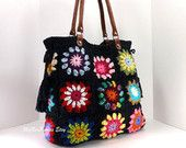 SALE Crochet granny squares handbag with tassels and genuine leather handles /BLACK/, Crochet Bag, Tote Bag, Gift Idea Point Granny Au Crochet, Granny Square Häkelanleitung, Granny Square Crochet Pattern, Granny Squares, Crochet Patterns, Chunky Crochet, Hand Crochet, Knit Crochet, Crochet Case