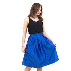#blue #midi #royal #skirt #fashion