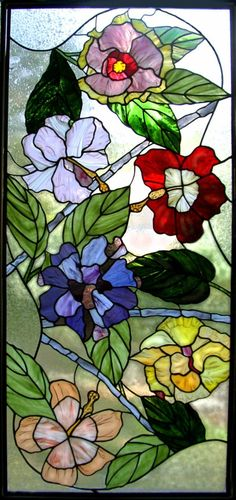 Floral Stained Glass Panel by KelleyArtGlass.com♥♥