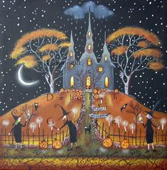 Lighting The Way a small #Halloween Witch Candles Moon Original Painting by Deborah Gregg