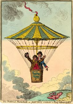 Pitt stands beside John Bull in a basket, inscribed 'Sinking Fund', which is attached to an elaborate pagoda-like parachute. On the apex of the parachute is a solid ball or weight inscribed. 'Million pr Annum at Interest & Compd I[nterest]'. From this floats upwards into the clouds a tattered ribbon inscribed 'National Debt', by which the parachute was attached to the base