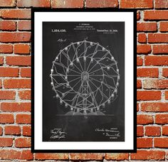 Ferris Wheel Patent, Ferris Wheel Poster, Ferris Wheel Print, Ferris Wheel Art, Ferris Wheel Decor, Ferris Wheel Blueprint by STANLEYprintHOUSE  1.00 USD  This poster is printed using high quality archival inks, and will be of museum quality. Any of these posters will make a great affordable gift, or tie any room together.  Please choose between different sizes and colors.  These posters are shipped in mailing tubes via USPS First Clas ..  https://www.etsy.com/ca/listing/248934347/..