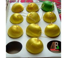 Gold Christmas Ornaments Silk Unbreakable 1 Balls by AtticBasement,