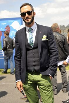 Charcoal Grey Jacket and Vest, with Lime Green Pants, at the Prix de Diane [Photo by Dominique Maître], Men's Spring Summer Fashion.