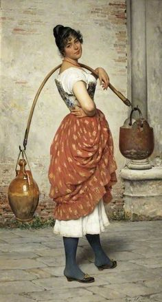The Athenaeum - A Venetian Water-Carrier Eugene de Blaas - 1890 Russell-Cotes Art Gallery and Museum - Bournemouth (England) Painting - oil on canvas Height: 119 cm (46.85 in.), Width: 64 cm (25.2 in.)