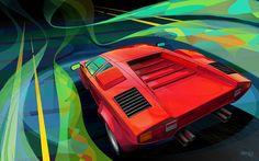 Lamborghini Countach LP400 S In adobe Illustrator and Photoshop