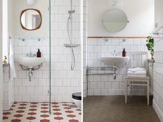 1930s Bathroom, Retro Bathrooms, Bathroom Inspo, Bathroom Styling, Bathroom Interior Design, Corner Vanity Unit, Vanity Units, Barcelona, Moroccan Tiles
