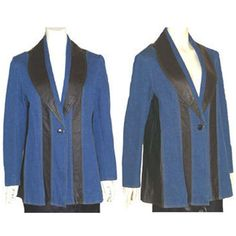 Via Accenti Blue and Black Leather & Denim Jacket Nwot 14W  #ViaAccenti #BasicJacket