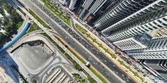 The Sheikh Zayed Road, Dubai, captured from 130 meters above by GlobalVision's professional drone. Professional Drone, Aerial View, Dubai, City Photo, Communication, Gallery, Roof Rack, Communication Illustrations