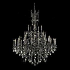 "Elegant Lighting 9245G54PW-GT/RC Rosalia Collection Foyer/Hallway Large Hanging Fixture D54"" x H66"" Pewter Finish (Royal Cut Golden Teak Crystals)"