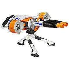 The Nerf N-Strike Elite Rhino-Fire is a motorized double-barrel blaster that comes with 50 Nerf darts. - Nerf Gun - Ideas of Nerf Gun Nerf Machine Gun, Machine Guns, All Nerf Guns, Rhino Fire, Pistola Nerf, Clearance Toys, Nerf Darts, Nerf Toys, Double Barrel
