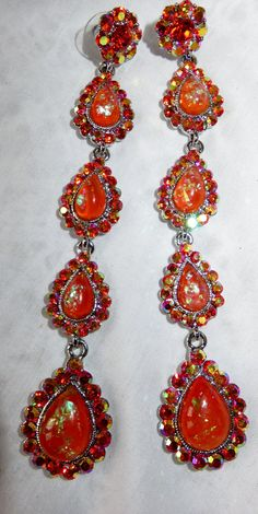 Vintage Earrings Confetti Lucite AB Rhinestones by vintagelady7