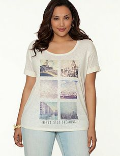 """Soft, rolled cuff tee features a whimsical """"Never Stop Dreaming"""" world cities graphic with subtle stone embellishments. #LaneBryant"""