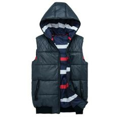 Men's Quilted Vest Jacket Thick Both Sides Wearable Hooded Jackets via martEnvy. Click on the image to see more!