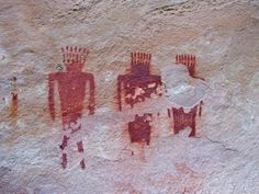 Deluge Shelter Pictograph of Three Human Figures. Approximately 1,000 years ago, Dinosaur National Monument, on the border of Colorado and Utah, was home to the Fremont people. They left evidence of their presence in the form of petroglyphs—patterns chipped or carved into the rock—and pictographs—patterns painted on the rock.