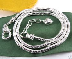 1pcs Hot Heart Lobster Clasp Snake Necklace Fit European Charms Beads 45-55cm