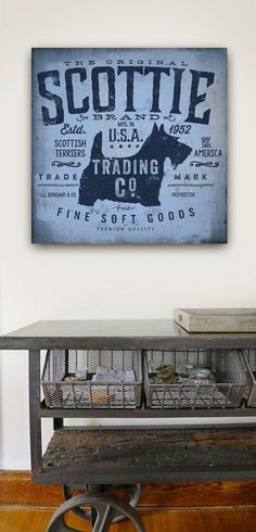 Scottie Trading Company scottish terrier dog graphic illustration on gallery wrapped canvas by Stephe Fowler Pet Dogs, Dog Cat, Cute Blankets, Pet Hair Removal, Dog Bones, Fluffy Dogs, Dog Blanket, Cat Hair, Branding