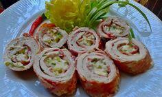 Duplán baconös karajszeletek zöld fűszeres mackósajttal töltve | Mindenegyben Blog My Recipes, Baked Potato, Sushi, Bacon, Sandwiches, Meals, Dinner, Ethnic Recipes, Foods