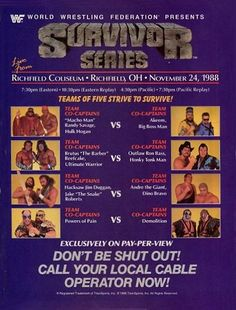WWE SURVIVOR SERIES 1988 - EVENT POSTER - Teams of Five Strive to Survive!