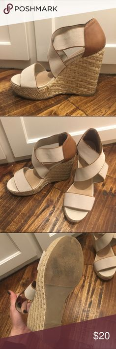 Nude & Camel Espadrille Wedge CANDIES Nude/camel espadrilles wedge size 9. Worn once. Candie's Shoes Wedges