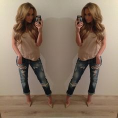 Spring / Summer Outfit - Nude Top and Heels - Ripped Boyfriend Jeans