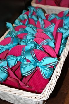 Flip flops + ribbon for spa party