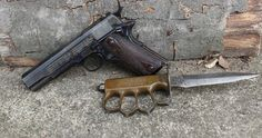 WWI 1911 with trench knife