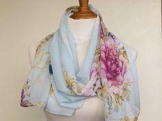 Summer-spring INFINITY Scarf Silk Chiffon Scarf by Natalyfashion