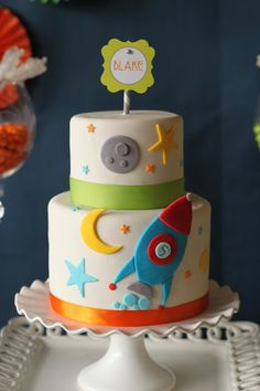 Rocket in Space birthday cake