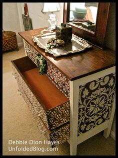Debbie from the Annie Sloan Unfolded blog stenciled a dresser and used the Villa Classic Panel and Moorish Fleur de Lis stencils from Royal Design Studio along with Chalk Paint™ decorative paint in Old White.