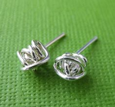 Wire Knot Silver Stud Earrings  Handmade Silver by TwistedDesigns, $18.00 ***Fantastic dupes for an overpriced pair by Ralph Lauren- and his aren't even silver!